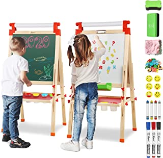 Joyooss Kids Wooden Easel with Extra Letters and Numbers Magnets, Adjustable Double Sided Drawing Board Whiteboard & Chalk...