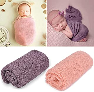 Newborn Photography Props,Aniwon Baby Photo Props Long Ripple Wraps Blanket Wraps for Baby Boys Girls (Pink & Purple)
