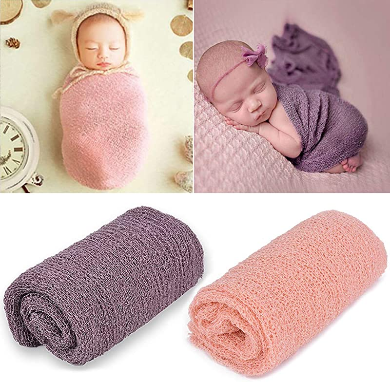 Newborn Photography Props Aniwon Baby Photo Props Long Ripple Wraps Blanket Wraps For Baby Boys Girls Pink Purple