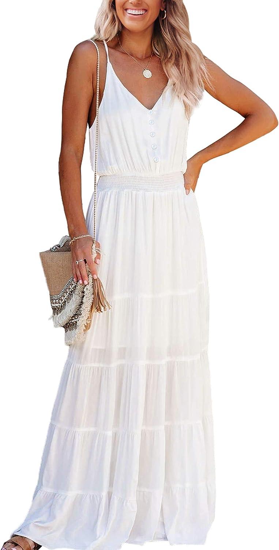 CinShein Womens V Neck Spaghetti Strap Maxi Long Dresses Summer Casual Sleeveless Solid Button Down Beach Party Midi Dress