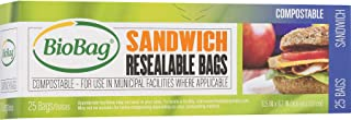 BioBag Resealable Compostable Sandwich Bags, 25 Count