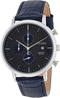 Citizen Men's Black Dial Leather Band Watch - AN3610-04H