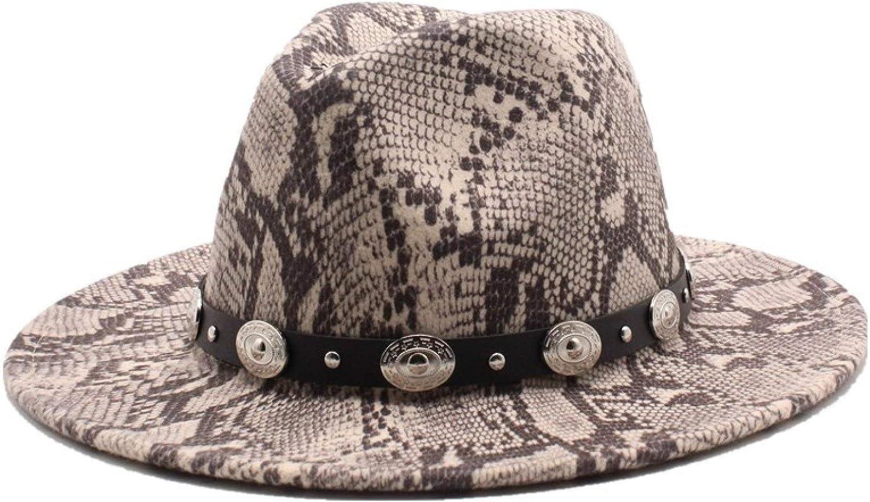 Fashionable Snakeskin Pattern Wool Felt Fedora Hats for Womens Retro Unisex Panama Hats Classic Trilby Jazz Cap