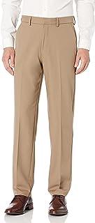 Haggar Men's Solid Gabardine Expandable Waistband Flat-Front Pant