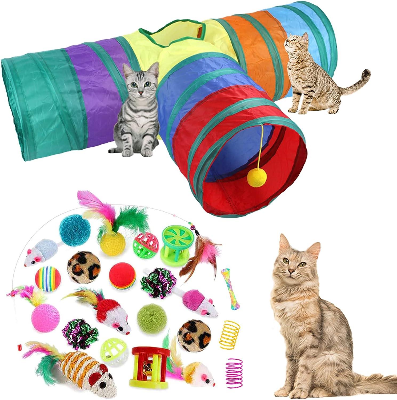 24Pcs Cat Toys Kitten Long Beach Mall Interactive Pet Assortments Large-scale sale Foldable
