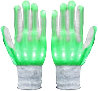 Neusky LED Leucht Handschuhe, Blink Party Leuchthandschuhe für Halloween, Karneval, Weihnachten oder Mottoparties (Grün)