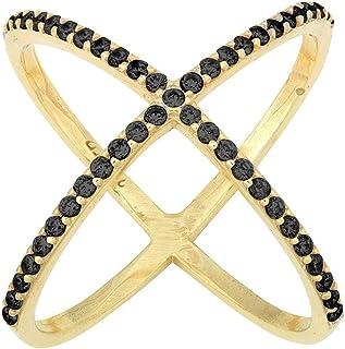خاتم على شكل X من الفضة الاسترليني مكعب زركونيا (CZ) كروس للنساء