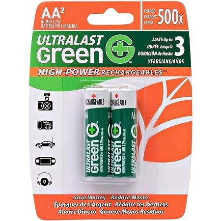 Amazon Com Ultralast Ulghp2aaa Green High Power Rechargeables Aaa Nimh Batteries 2 Pk Home Audio Theater