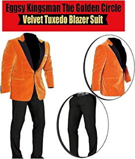 Men's Eggsy Orange Golden Circle Taron Hi-Quality Tuxedo Egerton Blazer 2 Piece Suit