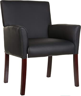 Amazon Basics Classic Reception Office Chair with Mahogany Wood Finish Legs - Black