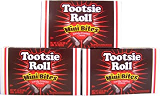 Tootsie Roll Mini Bites Candy Coated Chews Movie Theater Box, 3.5 oz (Pack of 3)
