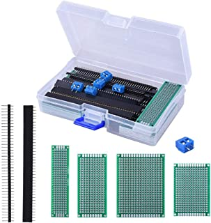 CH-IC DIY Soldering Kit Includes 4 Size(30 Pieces) Double Sided PCB Perforated Printed Circuits Boards,20 Pieces Male/Female Pin Header Connector and 10 Pieces Terminal Blocks