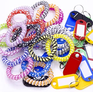 20Pack Plastic Coil Stretch Elastic Spring Spiral Bracelet Key Ring,Colorful Coil Stretch, Wristband Keychain, Keychain Spring Key Holder for School, Work, Office and Outdoor Activities (Multi-Colors)