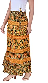 Rangun Presents Jaipuri Printed Cotton Full Length Skirt (Free Size) Yellow