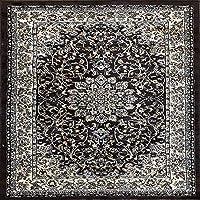 伝統的なスクエアペルシャ330,000ポイントオリエンタルエリアラグ ブラウン ブラック ベージュ Deir Debwan デザイン 603 (5フィート3インチ×5フィート3インチ)