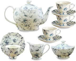 blue toile tea set