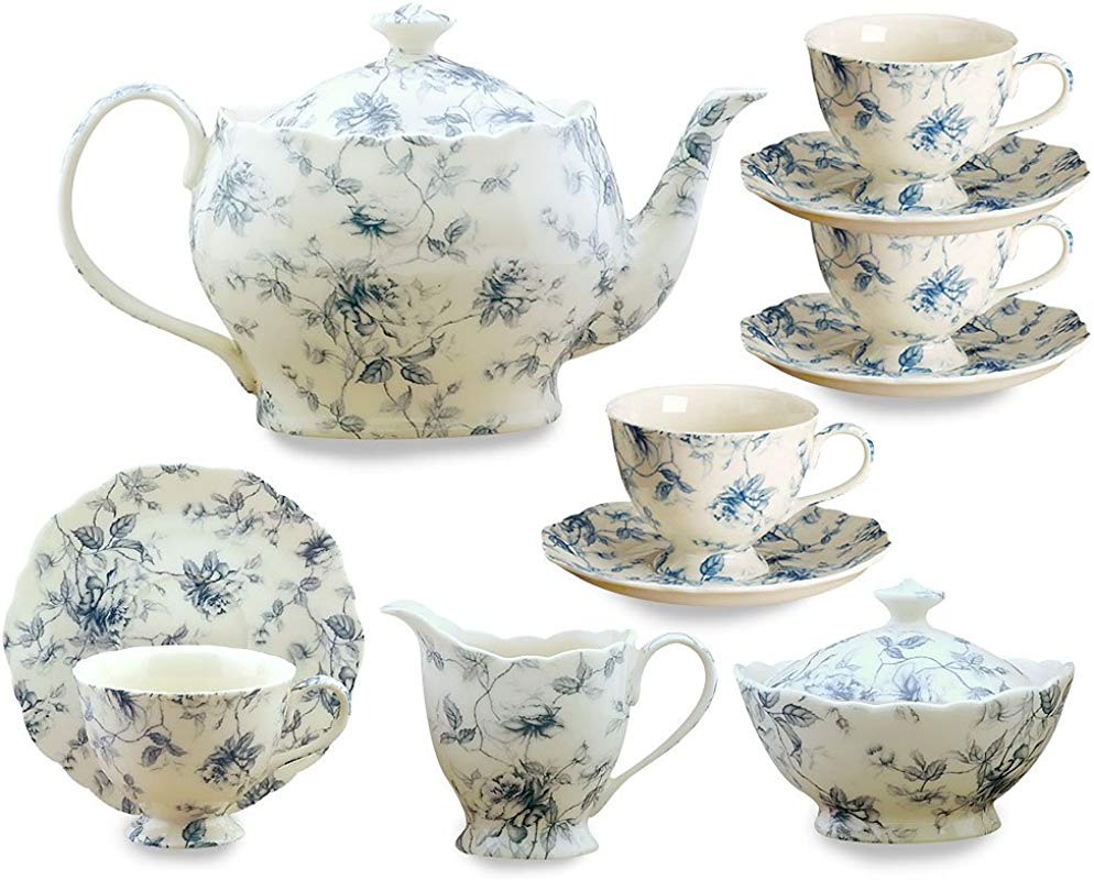 Gracie China Blue Rose Chintz 11 Piece Tea Service 4 Cup Teapot Sugar Creamer And Four 7 Ounce Cups And Saucers