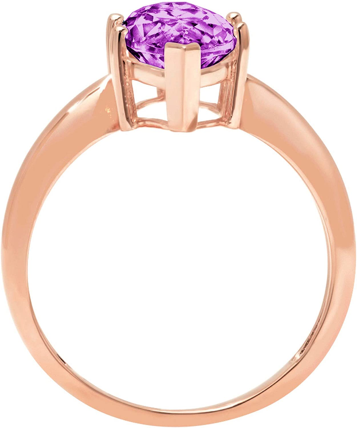 Clara Pucci 2.50 ct Brilliant Marquise Cut Solitaire Simulated Alexandrite Gem 6-Prong Engagement Wedding Bridal Promise Anniversary Ring Solid 18K Rose Gold for Women