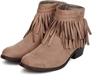 Womens Fringe Collar Moccasin-Style Ankle Synthetic Suede Bootie Riding Ankle Boots