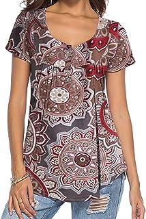 DEMO SHOW tuniek top locker lange mouwen V-hals knoopsluiting geplooid floral henley shirt blouse T-shirt