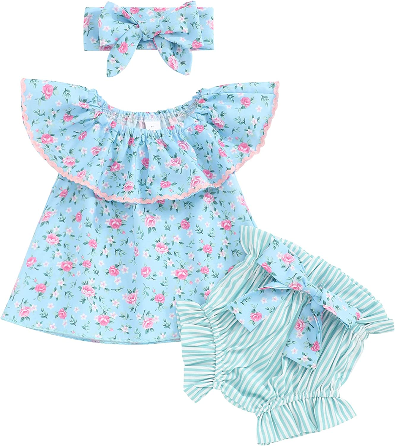 Xuuly Toddler Baby Girl Clothes Stay Wild Letter Print Ruffled Sleeve Shirt Top+Floral Shorts Baby Girl Summer Outfits