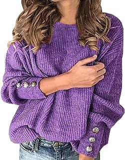 WJSU, suéter de Punto Elegante para Mujer, Sudadera con Cuello Redondo, Camisetas básicas de Manga Larga con botón