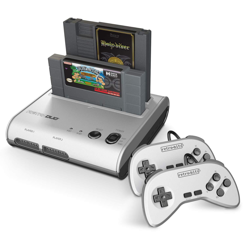 Amazon Com Retro Bit Retro Duo 2 In 1 Console System For Original Nes And Snes Games Silver Black Video Games