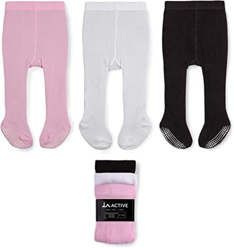 LA Active Collants Fille - 3 Paires - Bébé Enfant Bas âge Enfant Antidérapants/Antiglissements Coton (Rose/Blanc/Noir...