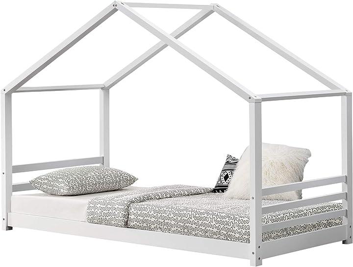 Letto per bambino a forma di casetta 90 x 200 cm lettino di design struttura in legno - bianco [en.casa] B0821Q5B6G