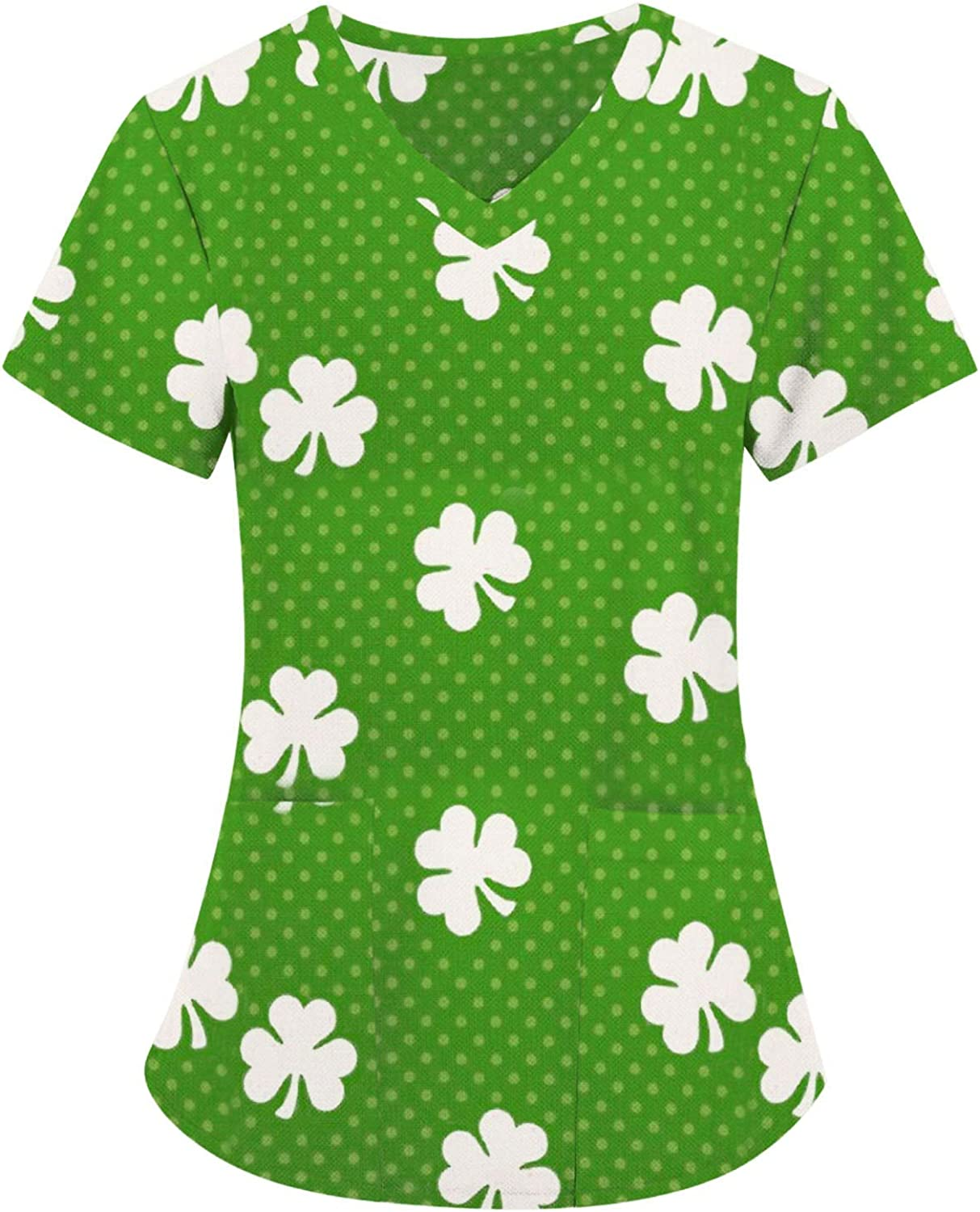 2021 New Women's Short Sleeve V-Neck Shirts Loose Casual Tee T-Shirt Basic Tops ST Saint Patricks Day Pullover for Friends Gifts