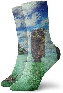 Paisaje Agua Isla Ko Tapu Tailandia Calcetines cortos transpirables Calcetines clásicos de algodón de 30 cm para hombres Mujeres Yoga Senderismo Ciclismo
