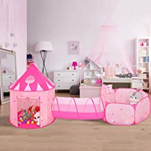 SparkleDay 3 pc Kids Princess Castle Play Tent Crawl Tunnel & Ball Pit with Basketball Hoop Toys for Girls and Boys, Toddler Playhouse for Indoor & Outdoor