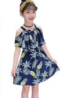 [ミートン] 子供服 女の子 ワンピース ドレス シフォン 夏 半袖 オフショルダー プリント 花柄 Aライン ゆったり 大きいサイズ