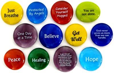 Comfort Stones,12 Encouraging and Comforting Sayings On Glass Stones For Anyone Facing a Challenge Or Illness. By Lifeforce Glass.