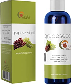 Pure Grapeseed Oil for Hair Face & Acne - Cold Pressed & 100% Pure for Highest Efficacy - Great Massage Oil Base - Use to Prevent Aging & Wrinkles - 4 Oz - USA Made by Maple Holistics