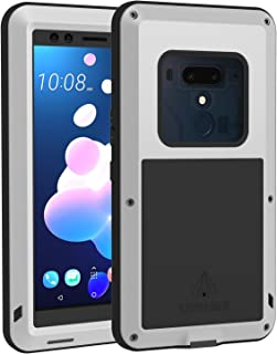 LOVE MEI HTC U12 Plus Case with Tempered Glass Screen Protector [Powerful Series] Shockproof Dustproof Combo Metal and Silicone Full Body Protection Heavy Duty Defender Case Cover for HTC U12+ Silver