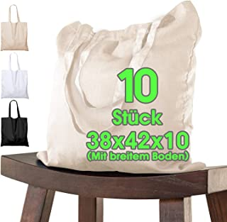 Bolsa de algodón 38x42x10 cm 10 piezas con pliegue inferior, natural sin imprimir, bolsa de tela de asa larga, bolsa de yu...
