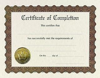 优质纸张! 预印识别证书,金箔和浮雕,21.59 cm x 27.94 cm,6 支装 Completion Completion