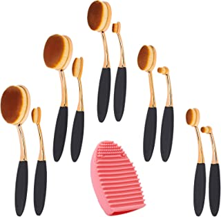 arricraft 10 Pcs Oval Toothbrush Makeup Brushes Set with Brush Cleaning Mat×1 Pc, Ink Blending Brushes Set, Cosmetic Tool Set for Base makeup, Face Cleaning, Painting Craft-Style 1