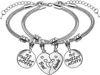 2 pulseras de amistad con forma de corazón