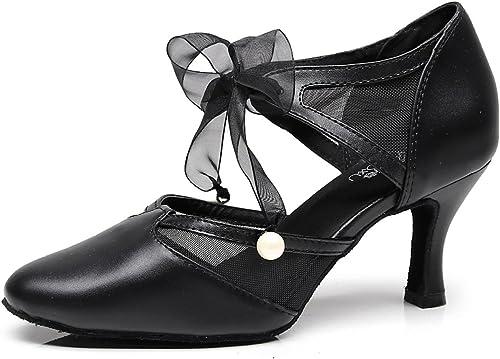 Jzapatos Correa De Cuero Para mujer Latin Salsa zapatos De Baile Para Salón   Tango   Chacha   Samba   Moderno   Jazz Sandalias Tacones Altos,negro-heeled7.5cm-UK4 EU35 Our36
