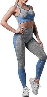 Conjunto Yoga Mujer 2 piezas Conjunto Deporte Yoga Chándal de Cadera Tejido, Pantalones de Yoga Elásticos Cintura Alta Sin...