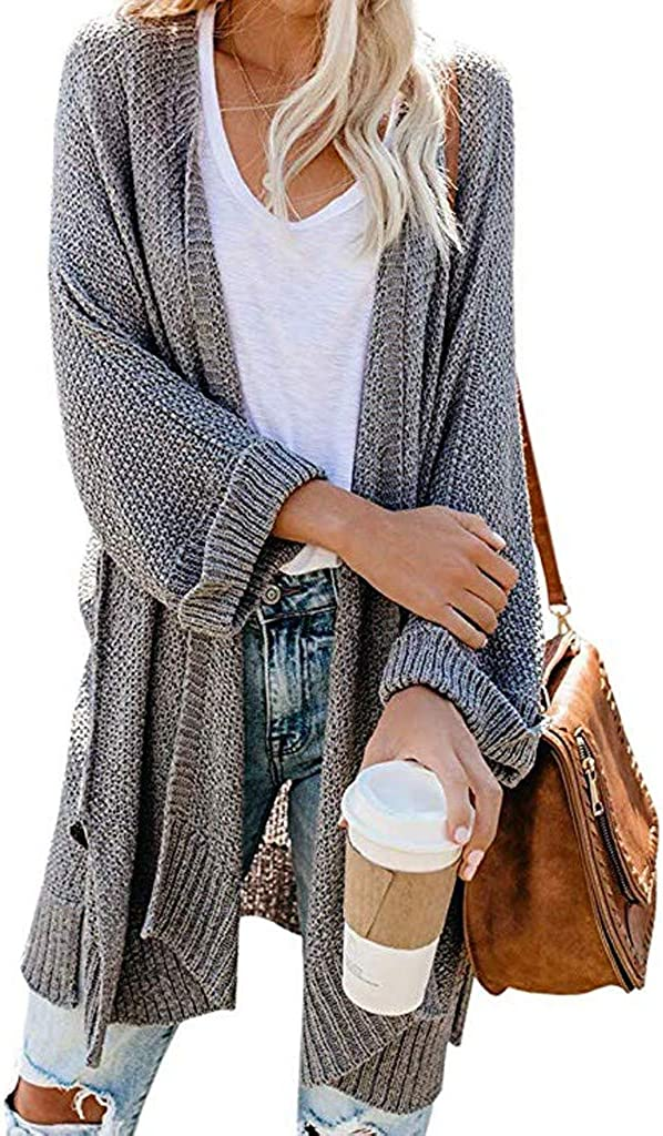 Womens Kimono Long Batwing Sleeve Open Front Chunky Cable Knit Cardigan Sweater Oversized Fall Winter Tops