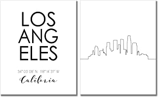 N&T Los Angeles Skyline Wall Décor Prints - Set of 2 (8x10) LA California Art Photos - Typography Minimalist Poster
