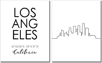 N&T Los Angeles Skyline Wall Décor Prints - Set of 2 (8x10) LA California Art Photos - Typography Minimalist Poster