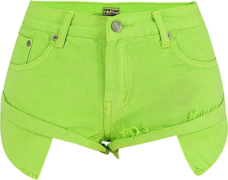 Women's Denim Shorts Fashion Sexy Solid Color Washed Trend Raw Edge Denim