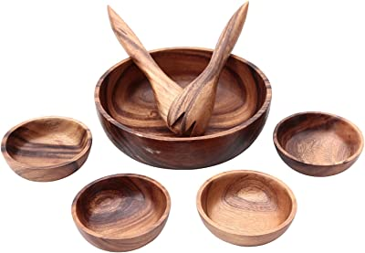 不二貿易 ボウル 5枚セット スプーン&フォーク付き アカシア 天然木 割れにくい 軽量 木製 食器 94495