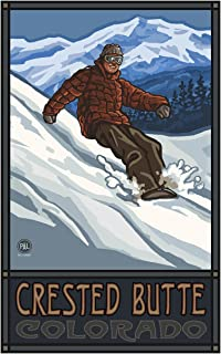Crested Butte Colorado Snowboarder Edge Travel Art Print Poster by Paul A. Lanquist (12