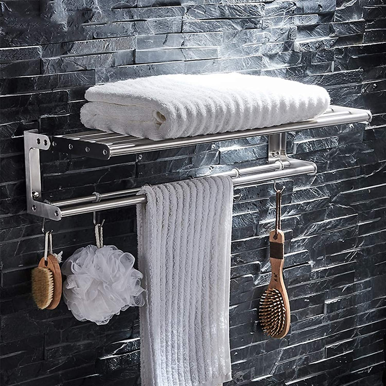 Wall Mounted 2 Tier Towel Rack, 304 Stainless Steel Brushed Folding Double Towel Bar with Hook, Bathroom Towel Bar Sets (Size   Long 40cm)