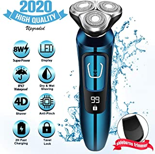 Electric Razor for Men, Mens Electric Shavers, Dry Wet Waterproof Rotary Facial Shaver, Portable...
